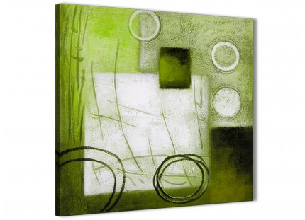 Lime Green Painting Hallway Canvas Pictures Decorations - Abstract 1s431m - 64cm Square Print