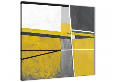 Mustard Yellow Grey Painting Living Room Canvas Wall Art Decorations - Abstract 1s388m - 64cm Square Print