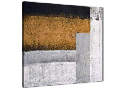 Orange Grey Painting Hallway Canvas Wall Art Decor - Abstract 1s426m - 64cm Square Print