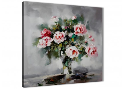 Pink Grey Flowers Painting Kitchen Canvas Wall Art Decorations - Abstract 1s442m - 64cm Square Print