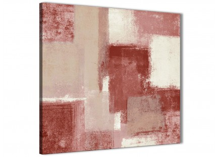 Red and Cream Living Room Canvas Pictures Decorations - Abstract 1s370m - 64cm Square Print