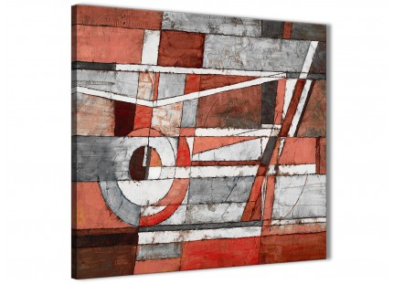 Red Grey Painting Living Room Canvas Pictures Decor - Abstract 1s401m - 64cm Square Print