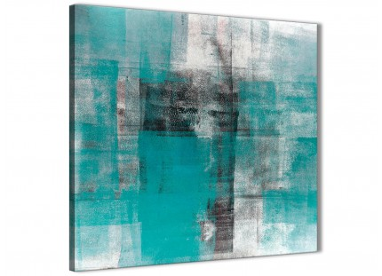 Teal Black White Painting Kitchen Canvas Pictures Decorations - Abstract 1s399m - 64cm Square Print