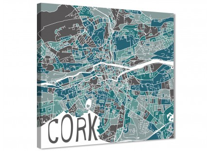 Teal Blue Street Map of Cork Stairway Canvas Wall Art Decor - 1s451m - 64cm Square Print