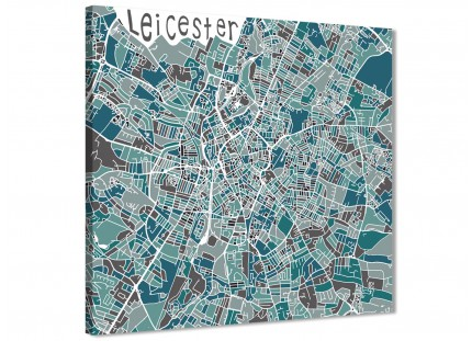 Teal Blue Street Map of Leicester - Living Room Canvas Pictures Decor - 1s453m - 64cm Square Print