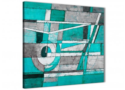 Turquoise Grey Painting Living Room Canvas Pictures Decor - Abstract 1s403m - 64cm Square Print