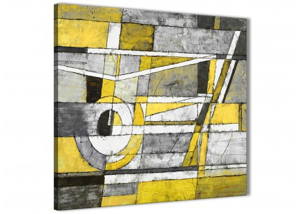 Yellow Grey Painting Hallway Canvas Wall Art Decorations - Abstract 1s400m - 64cm Square Print