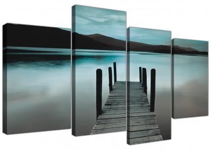 Teal Grey Coloured Lake Jetty View Landscape Canvas - 4 Part Set - 130cm - 4237