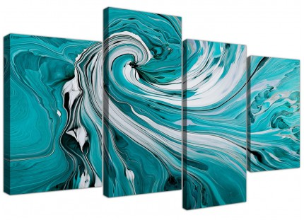 Teal White Grey Modern Swirls Abstract Canvas - Split 4 Panel - 130cm - 4266