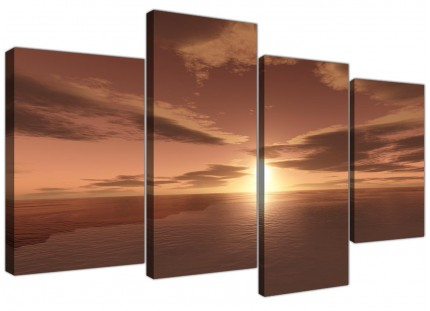 Large Brown Ocean Sunrise - Seascape Canvas Multi Set of 4 - 130cm Wide