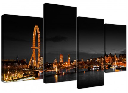 Panoramic London Eye at Night Big Ben City Canvas - Split 4 Panel - 130cm - 4186