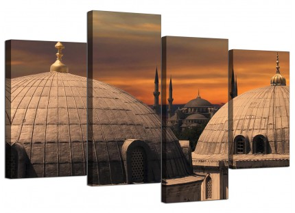 Istanbul Skyline - Blue Mosque Sunset Cityscape Canvas - 4 Panel - 130cm - 4192