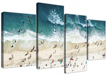 Ocean Beach Themed Scene Gold Coast Beach Canvas - Multi 4 Part - 130cm - 4245