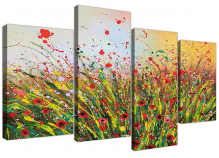Modern Abstract Summertime Flowers Red Floral Canvas - Set of 4 - 130cm - 4262