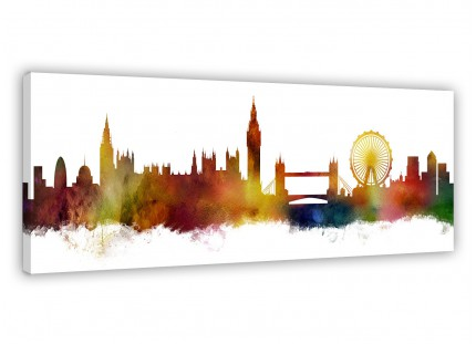 London City Skyline Panoramic Canvas Wall Art Print - Multi Coloured - 1p484s - 90cm