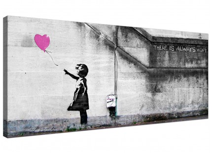 Large Banksy Balloon Girl Pink Heart Hope Modern Canvas Art - 120cm - 1227