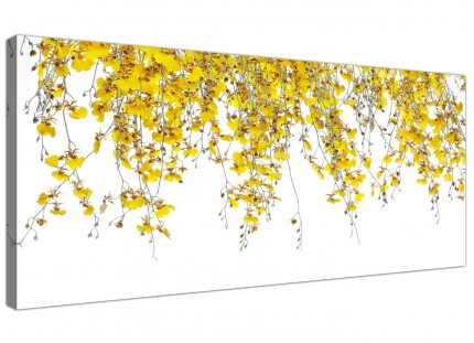 Large Modern Yellow White Orchids Flowers Floral Canvas Art - 120cm - 1263