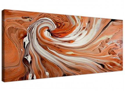 Large Orange and White Swirl - Abstract Canvas Modern  - 120cm wide