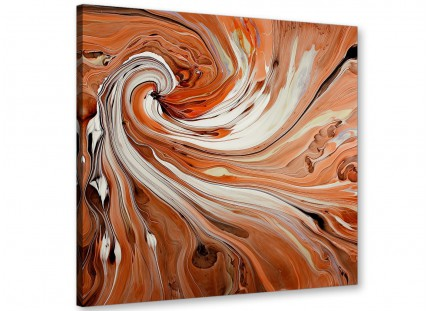 Large Modern Orange White Swirls Contemporary Abstract Canvas Art - 64cm - 1s264m