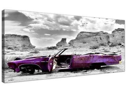 Large Abstract Purple Grey Car Desert Landscape Modern Canvas Art - 120cm - 1144
