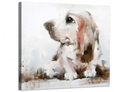 Large Childrens Bedroom Nursery Basset Dog Modern Canvas Art - 48cm - 1s252m