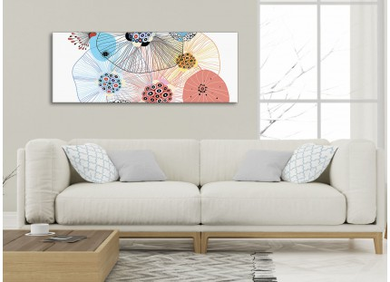Abstract Floral Multi-Colour Flowers Living Room Canvas Wall Art Accessories Print