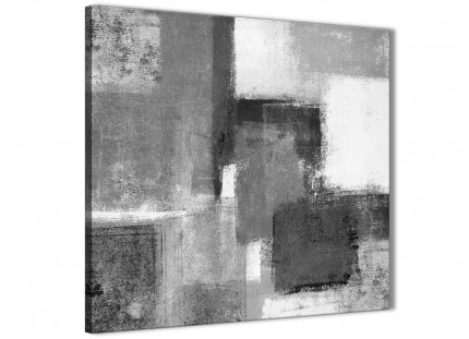 Black White Grey Abstract Hallway Canvas Wall Art Decor 1s368l - 79cm Square Print