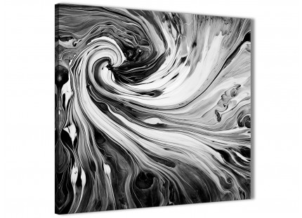 Black White Grey Swirls Modern Abstract Canvas Wall Art - 79cm Square - 1s354l