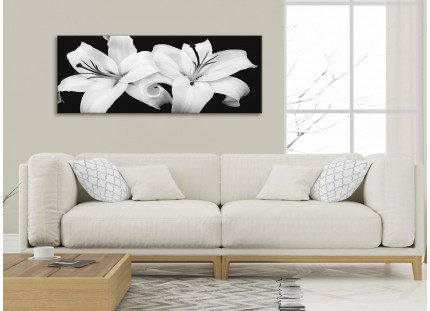 Black White Lily Flower Bedroom Canvas Wall Art Accessories Print