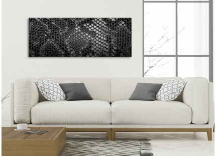 Black White Snakeskin Animal Print Living Room Canvas Pictures Accessories - Abstract Print