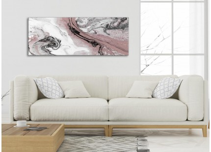 Blush Pink and Grey Swirl Living Room Canvas Wall Art Accessories - Abstract Print