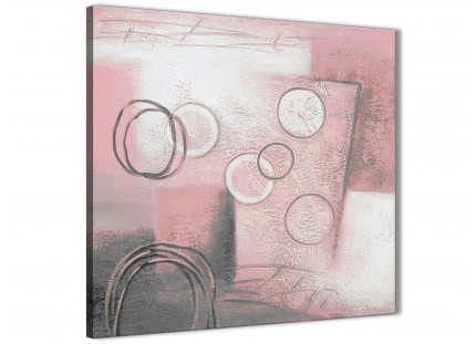 Blush Pink Grey Painting Abstract Dining Room Canvas Pictures Decor 1s433l - 79cm Square Print