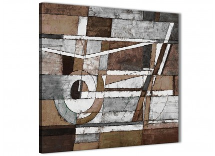 Brown Beige White Painting Abstract Hallway Canvas Pictures Accessories 1s407l - 79cm Square Print