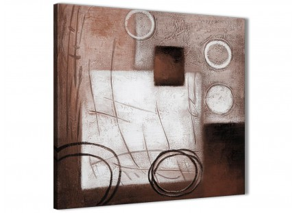 Brown White Painting Abstract Hallway Canvas Wall Art Decor 1s422l - 79cm Square Print