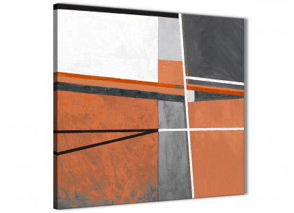 Burnt Orange Grey Painting Abstract Office Canvas Pictures Accessories 1s390l - 79cm Square Print