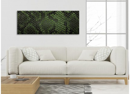 Dark Green Snakeskin Animal Print Living Room Canvas Wall Art Accessories - Abstract Print