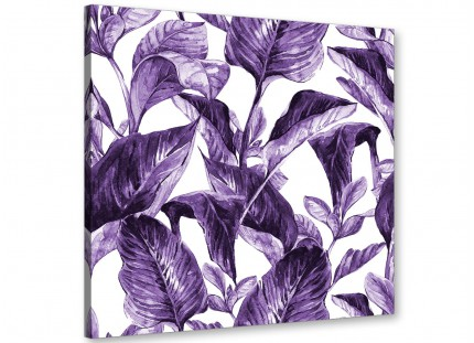 Dark Purple White Tropical Exotic Leaves Canvas Wall Art - Modern 64cm Square - 1s322m