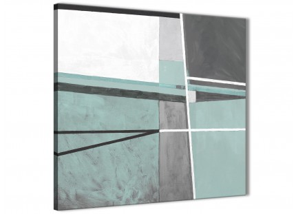 Duck Egg Blue Grey Painting Abstract Office Canvas Wall Art Decorations 1s396l - 79cm Square Print