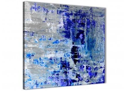 Indigo Blue Grey Abstract Painting Wall Art Print Canvas - Modern 79cm Square - 1s358l