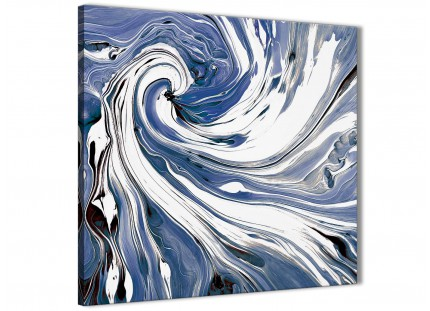 Indigo Blue White Swirls Modern Abstract Canvas Wall Art - 79cm Square - 1s352l