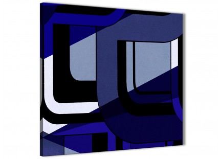 Indigo Navy Blue Painting Abstract Hallway Canvas Pictures Decor 1s411l - 79cm Square Print