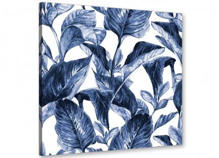 Indigo Navy Blue White Tropical Leaves Canvas Wall Art - Modern 64cm Square - 1s320m