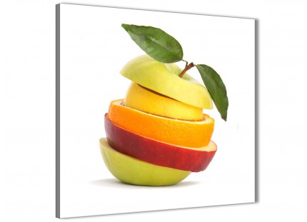 Large Kitchen Canvas Art Print Sliced Fruit - Apple Shape Food Stack - 1s483l - 79cm XL Square Picture
