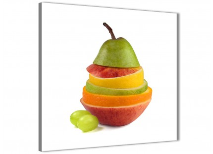 Large Kitchen Canvas Wall Art Sliced Fruit - Pear Shape Food Stack - 1s482l - 79cm XL Square Picture