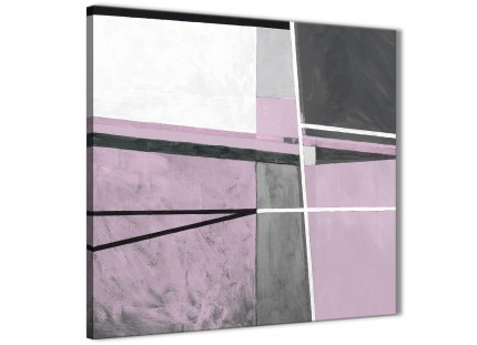 Lilac Grey Painting Abstract Bedroom Canvas Pictures Decor 1s395l - 79cm Square Print