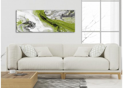 Lime Green and Grey Swirl Bedroom Canvas Pictures Accessories - Abstract Print