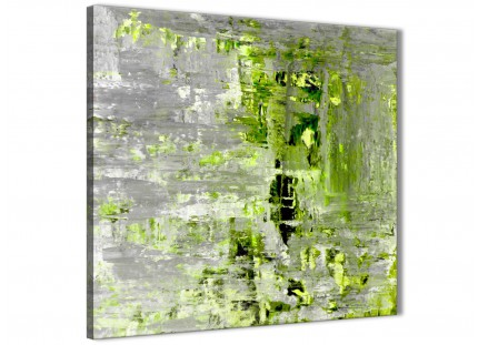 Lime Green Grey Abstract Painting Wall Art Print Canvas - Modern 64cm Square - 1s360m