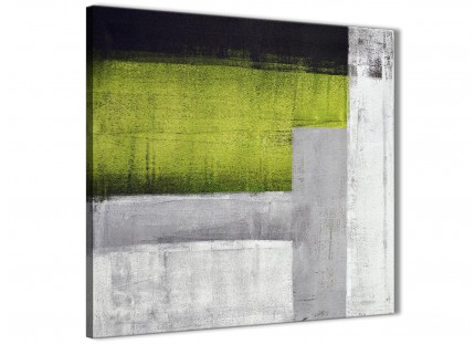 Lime Green Grey Painting Abstract Dining Room Canvas Pictures Decor 1s424l - 79cm Square Print