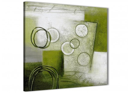 Lime Green Painting Abstract Office Canvas Pictures Decor 1s434l - 79cm Square Print