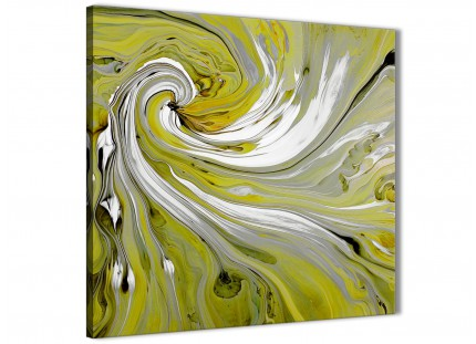 Lime Green Swirls Modern Abstract Canvas Wall Art - 49cm Square - 1s351s